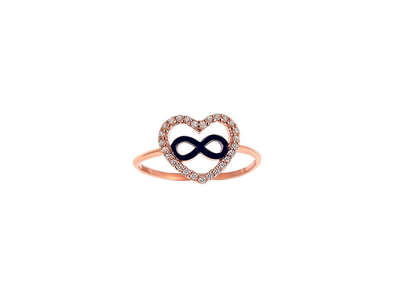 """Ασημένιο δαχτυλίδι """"Heart & Infinity #1"""" ροζ επίχρυσο"""